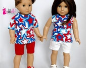 Fits like American Girl doll clothes, red/white/blue/turq star top and knit shorts, His/Hers doll clothing / 18 inch doll clothes