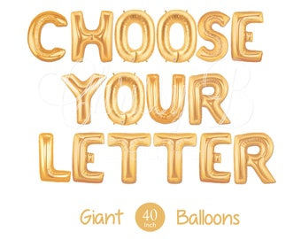 "Giant Letter Balloons - 40"" Inch Mylar Balloons in Gold, Rose Gold or Silver - Choose Your Letter - Authentic Megaloons - Made in Italy"