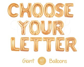 """Giant 40"""" Inch Gold Mylar Letter Balloons - You Choose the Letter You Want  - Metallic Gold Giant Letter Balloons"""