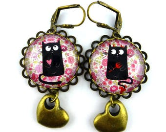 Angel and Devil cats, pink earrings with flowers, vintage style glass domes