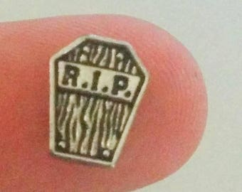 99 CENT SALE Halloween RIP Tombstone Grave Floating Charm for Glass Memory Locket Fc23 - 1 Charm