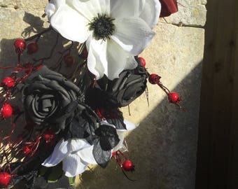 Hand tied artificial Gothic collection flowers, magnolia flowers with a twist