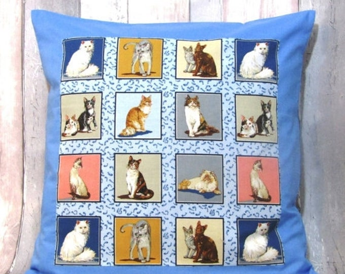 "Xmas Cats, Cat Pillow Cover, Cats Print Cushion Cover, 20"" x 20"", Cat Decor"
