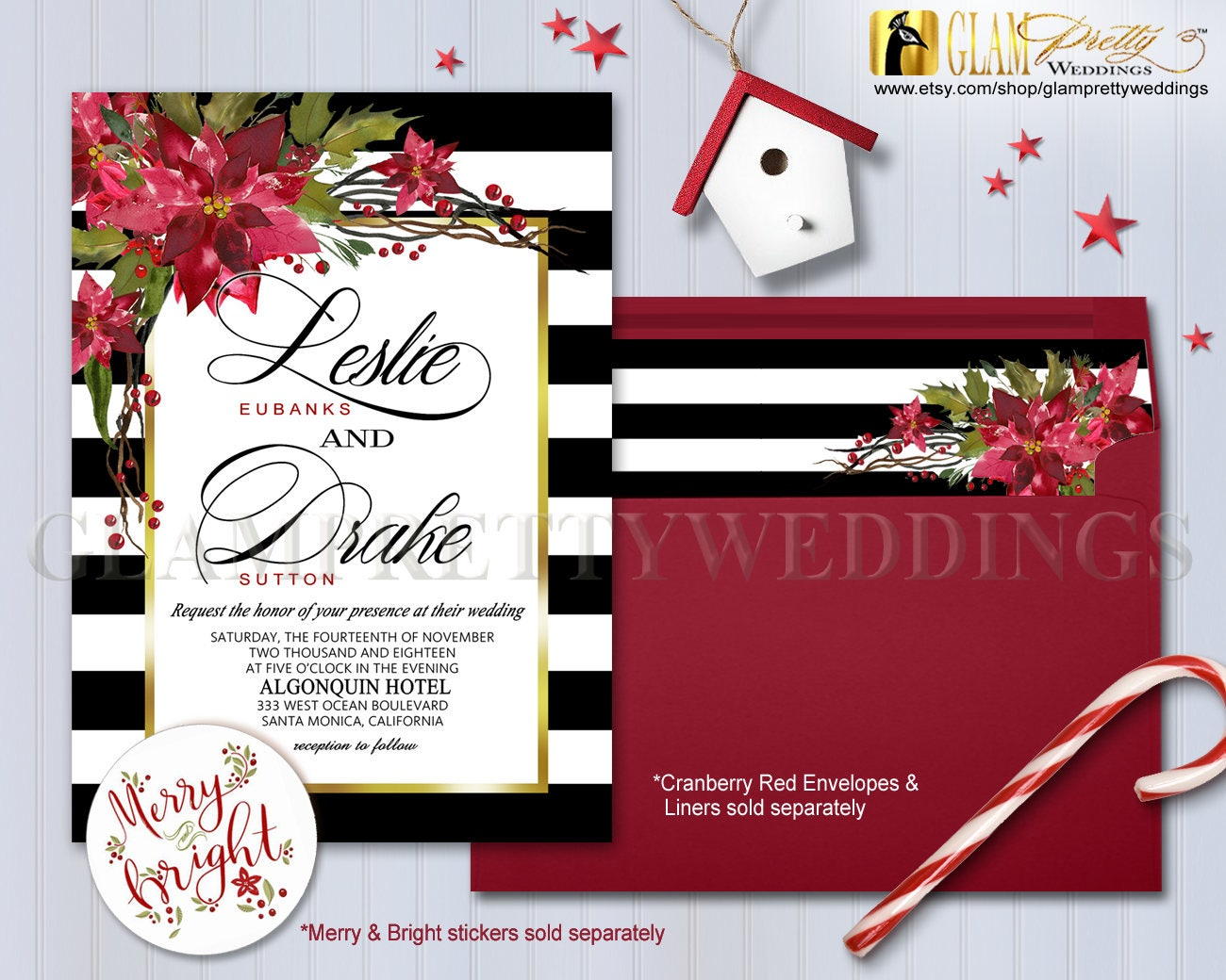 Poinsettia Berries B&W Striped Christmas Winter Wedding Invite with ...