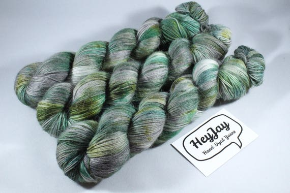 Hand Dyed Sock Yarn, Merino, Alpaca, Nylon Blend - Camo