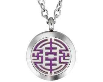 """Essential Oil Diffuser Necklace Aromatherapy Jewelry Stainless Steel Locket Pendant 24"""" Adjustable Chain, 15 Refill Felt Pads (Tribal)"""