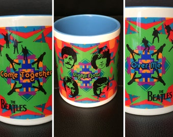 The Beatles Ceramic Mug - Psychedelic - John Lennon, Paul McCartney, Ringo Star, George Harrison - Come Together