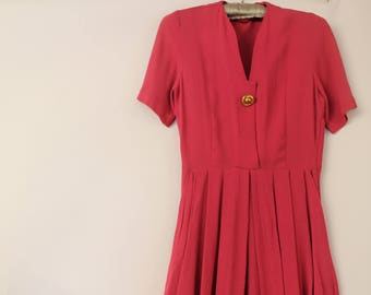 1940's Hot Pink crepe tulip/wiggle dress