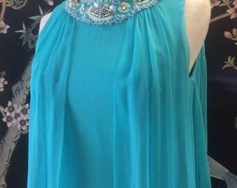 Drop dead Gorgeous Vintage 1960s teal chiffon dress