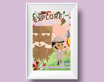 Kids Room Decor- Explorer Girl and Tiki Retro Illustration: Explore New Lands! Retro Mid-Century Style Library/Reading Poster