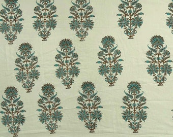 """Floral Hand Block Print, White Fabric, Decorative Fabric, Crafting, Home Accessories, 46"""" Inch Cotton Fabric By The Yard ZBC8283A"""