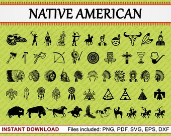 Native American Silhouette, Set of 52 Commercial Use Clipart, American Indian Art, Teepee, Horse, Red Indian, jpg pdf png eps dxf svg files