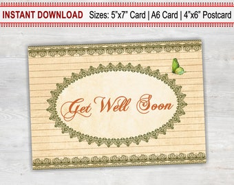 Get Well Soon Card, Printable Card, Rustic Card, Sympathy Card, Thinking Of You, Feel Better, Cheer Up, Hospital, Recovery, Illness, Empathy