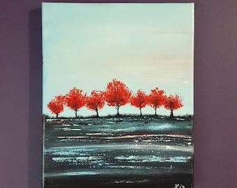 Crimson Forest, Abstract Painting, Acrylic On Canvas, Wall Art, Art Decor