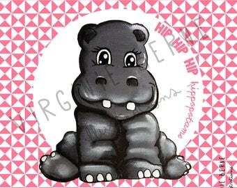 Pink Hippo fabric