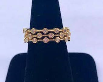 18k Yellow Gold & Diamond 3 Ring Set