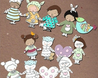 Paper doll chain, diy paper doll, digital paper doll, color and make paper craft, tree decoration, things to make, cut out paper doll