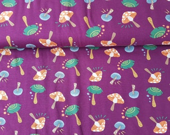 Mushrooms - Bordeaux, Cotton Lycra Jersey Knit Fabric