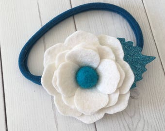 Felt flower headband , floral headband , nylon headband , baby headband , headband , soft headband , blue headband , felt accessories