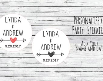 Personalized Wedding Stickers, Favor Tags, Labels, Love Arrow Thanks for Coming,Wedding Labels, Wedding Favour Stickers, Wedding Ideas