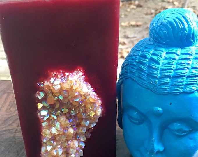 Crystal Candle~ Red Tall Square Scented Candle with an inlaid Opal Citrine Aura Cluster that illuminates when lit!