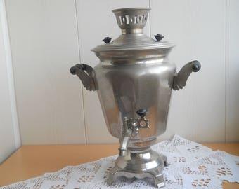 Vintage Soviet SAMOVAR. Electric Teapot. Large Russian Samovar. Vintage Water Heater. Nickel Plated Brass Kettle. Made in USSR. Soviet era.