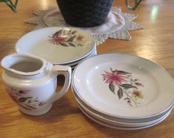 Vintage Grantcrest Child's Saucers Plates and Creamer - Item #1258
