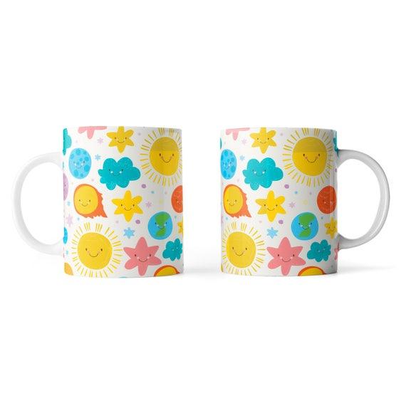 Cute kawaii solar system mug - Funny mug - Rude mug - Mug cup 4P105