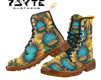 Sunflower Floral Festival boots, Burning man boots, Dr Marten style boots, Combat boots, Ladies and Mens Festival shoes and boots,