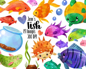 Tropical Fish Clipart - Colorful Fish Download - Instant Download - Watercolor Tropical Fish and Fish Bowl