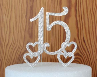 Custom Quinceanera 15  Or sweet 16 crystal rhinestone birthday cake topper and 2 double rhinestone hearts