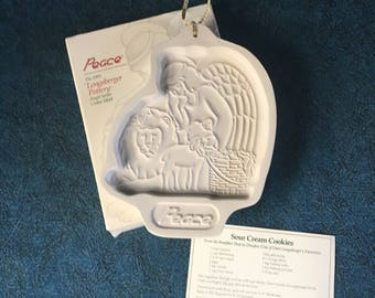 "Longaberger ""Angel Series"" Pottery Cookie Mold, Christmas ""Peace"" 1993 Cookie Mold, Lion and Lamb"