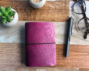 HENNA EMBOSSED Travelers Notebook - All Sizes - Leather Travelers Notebook - Embossed Leather Notebook - Customizable Travelers Notebook