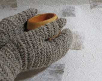 Needlebound mittens naturally grey, pure wool, medieval clothing reenactors, vikings dark ages, historically accurate