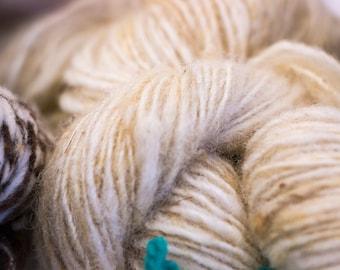 Skein of merino wool spun to spinning wheel