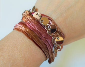 Silk ribbon wrap around bracelet with copper bangles