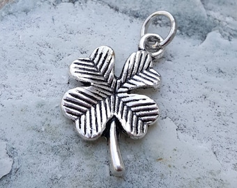 Silver plated four 4 leaf clover charm pendant jewelry, charm bracelet necklace, antique silver charms, irish clovers good luck charms