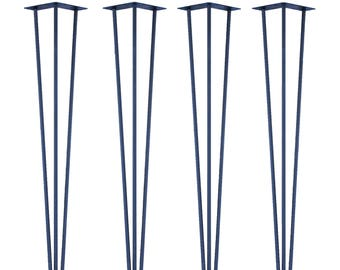 4 Premium Hairpin Tablelegs in Blue   2 and 3 Rod Version   2 Heights