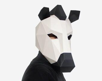 Zebra Mask, Paper Mask, Animal Mask, DIY printable Animal Head, Instant Pdf download, Printable Paper Mask, 3D, Polygon Masks