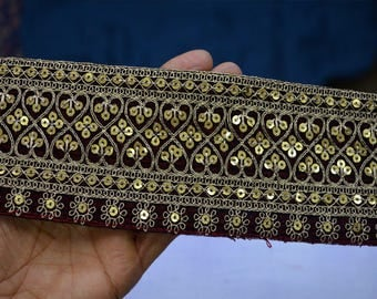 Maroon Indian Embroidered Laces and Trims Velvet Saree Border Fabric Trim By The Yard Wholesale Trimmings Ribbon Indian Sari Border gold