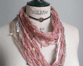 Fancy decorated with beads handcrafted woman pink mesh scarf