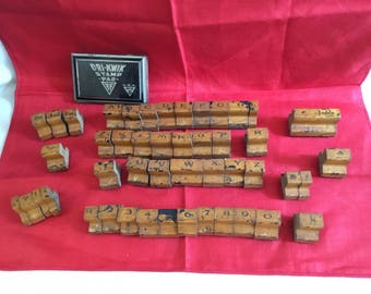 Antique Rubber Stamp Set, Alphabet Numbers and More