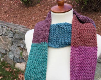 Handmade Knitted Scarf, Multicolored Scarf, Fall Scarf