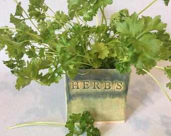Herb Box/ Ceramic Herb Box/ Pottery Herb Planter / Herb Pot/ Green Herb Planter / Window Planter /Herb Planter /Window Box