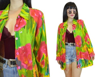 vintage 90s vivid floral duster oversized long blouse top watercolor artistic beaded jacket top shirt pastel grunge colorful medium large