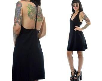vintage 90s black caged back mini dress XOXO tunic slouchy fit goth nylon soft grunge open back minimalist medium