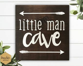 "little man cave, wood sign, 11"" square sign, wall hanging, woodland home decor, little boys room, rustic nursery decor, baby shower gift"