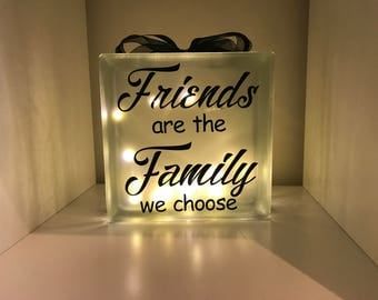 Decorated glass light block, light up gift, family gift