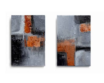 Industrial art, atrwork by Ela Szczepaniak, set of 2, gray and copper, Wall Art, Modern Art Painting, contemporary art, black and orange