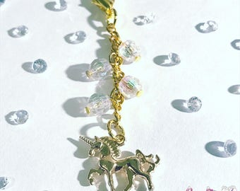 Gold unicorn charm for planner, travelers notebook, bag, keyring or zipper pull clip charm